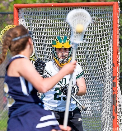 Senior goalie Hope Germanakos made the 500th save in her career late in the fourth quarter of Lynbrook's 14-7 playoff win over Bethpage on May 15.