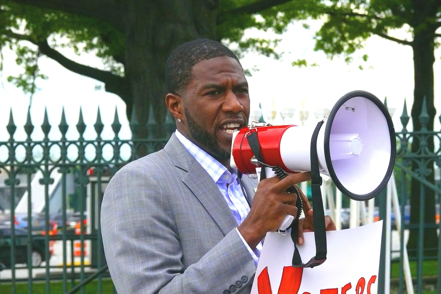 New York City Councilman Jumaane Williams, who is running for lieutenant governor, addressed assembled demonstrators.