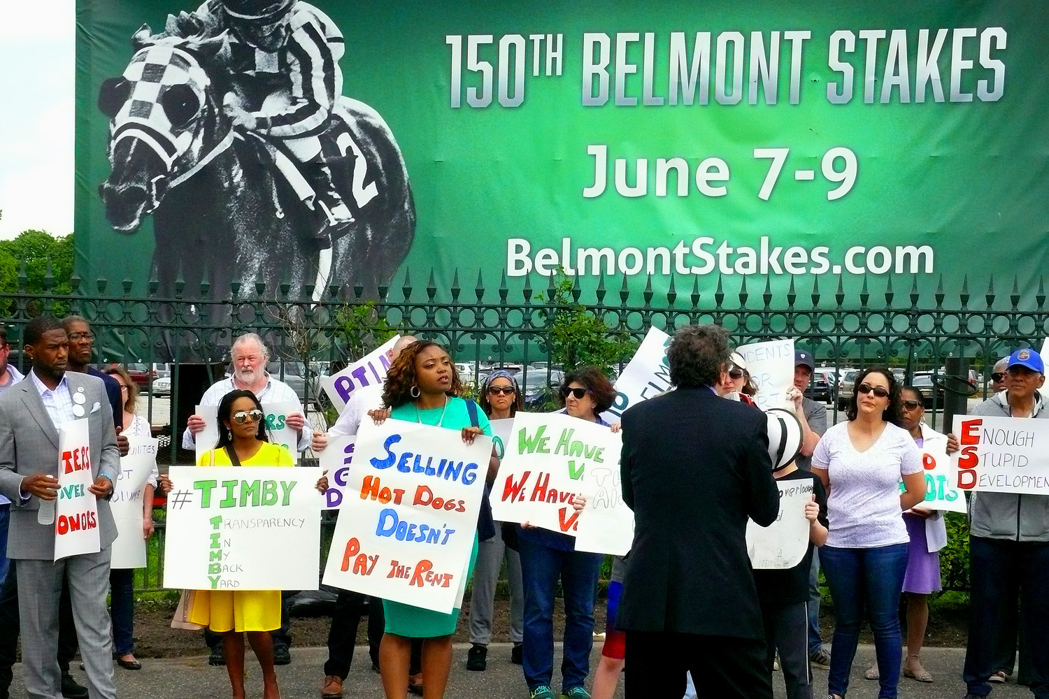Attorney Norman Siegel addressed residents outside Belmont Park. Demonstrators came from Bellerose, Queens; Elmont; and Floral Park.