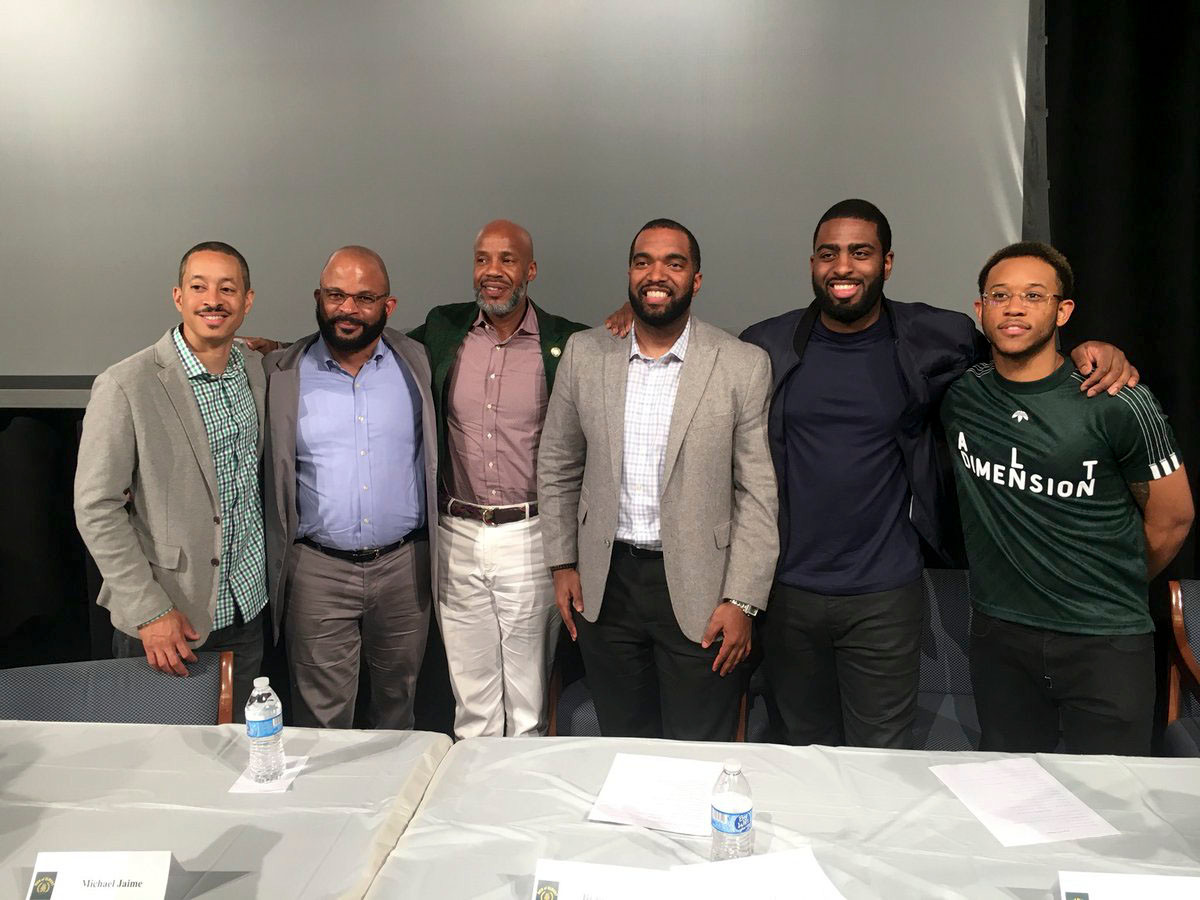 Six professionals from varying industries gathered at Elmont Memorial High School's Men of Elmont summit to share their stories of hardships and success.