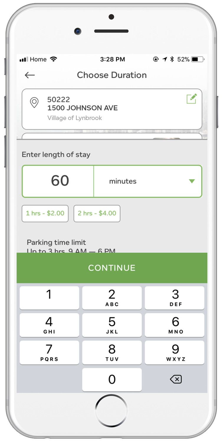 The PayByPhone parking app enables users to type in their parking location and select how many minutes they want to stay. They are then notified of any time limit restrictions.