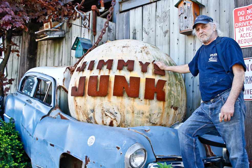 Jimmy at the entrance to his iconic junkyard which he took over in 1984.