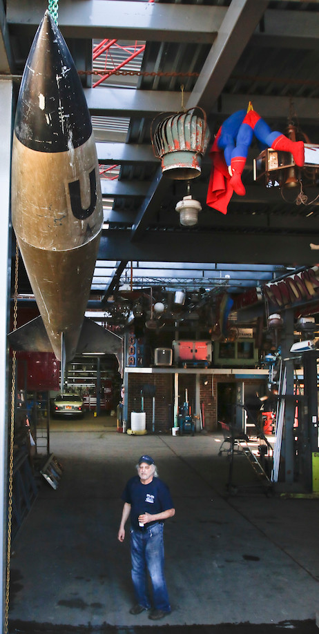 While its still a working junkyard, Jimmy's shop is almost a museum of old scrap parts, signs, lights, oddities and more that have been given a new life on his walls.