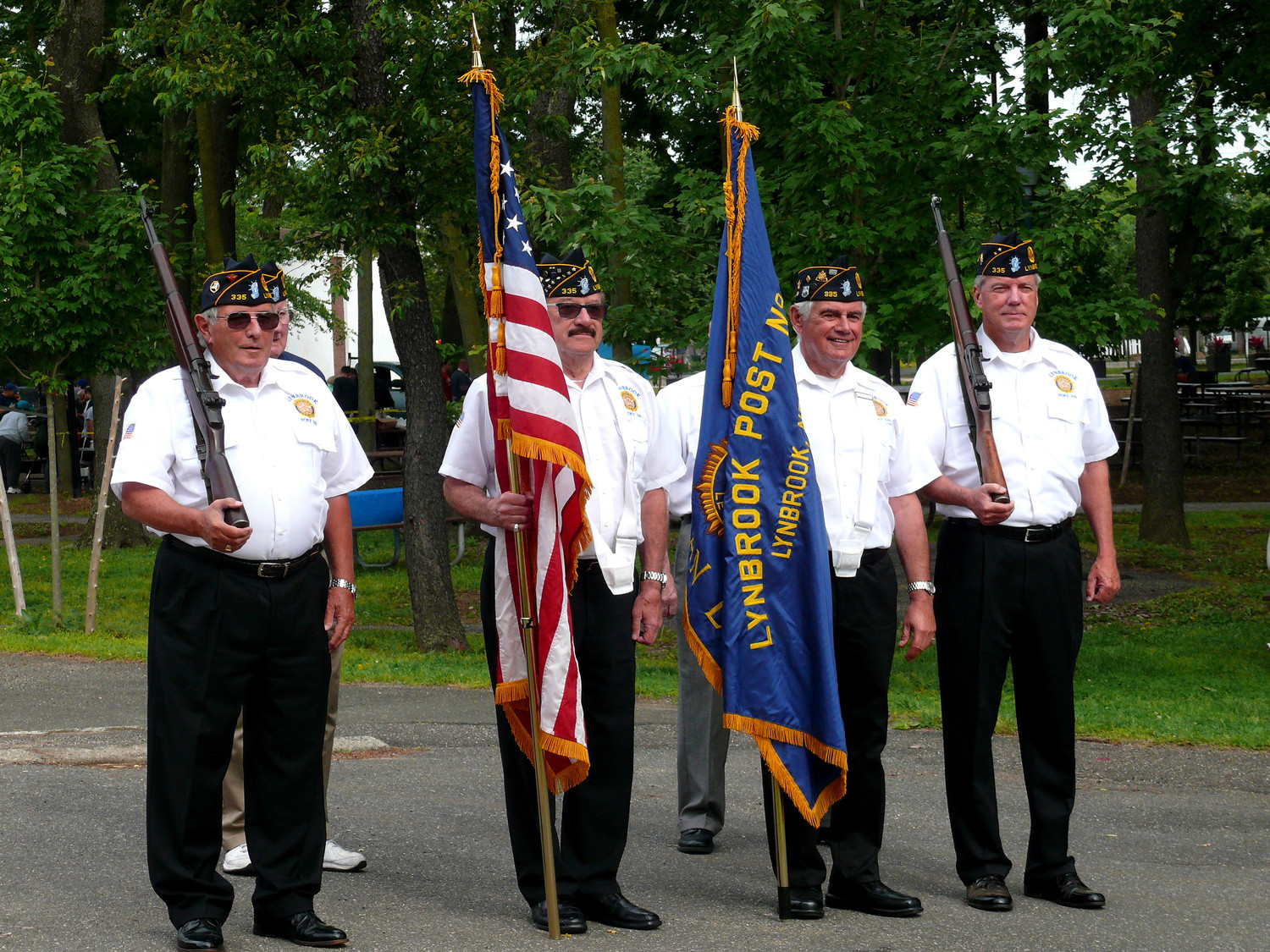 The Lynbrook VFW post personnel prepared to show the colors at Lynbrook's Patriots' Day last year