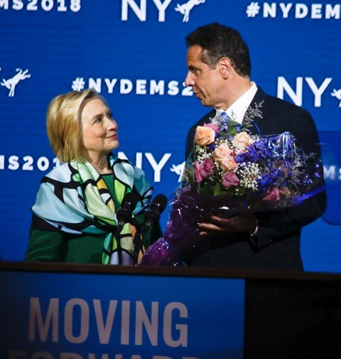 Sec. Hillary Clinton endorsed Gov. Andrew Cuomo for another term, as the state Democratic Party's nominee for governor, at Hoftra University on Wednesday,