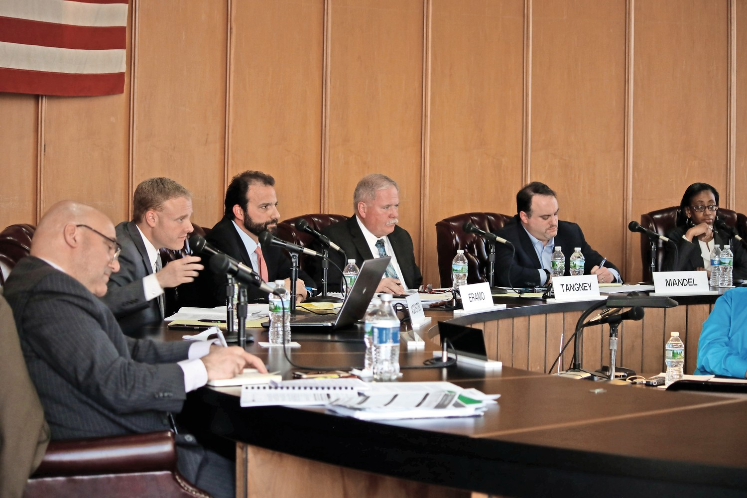 CITY COUNCIL President Anthony Eramo, third from left, said that the city has asked State Comptroller Tom DiNapoli's office to look into separation payments given to employees over the past six years as part of a comprehensive audit of the city's finances.