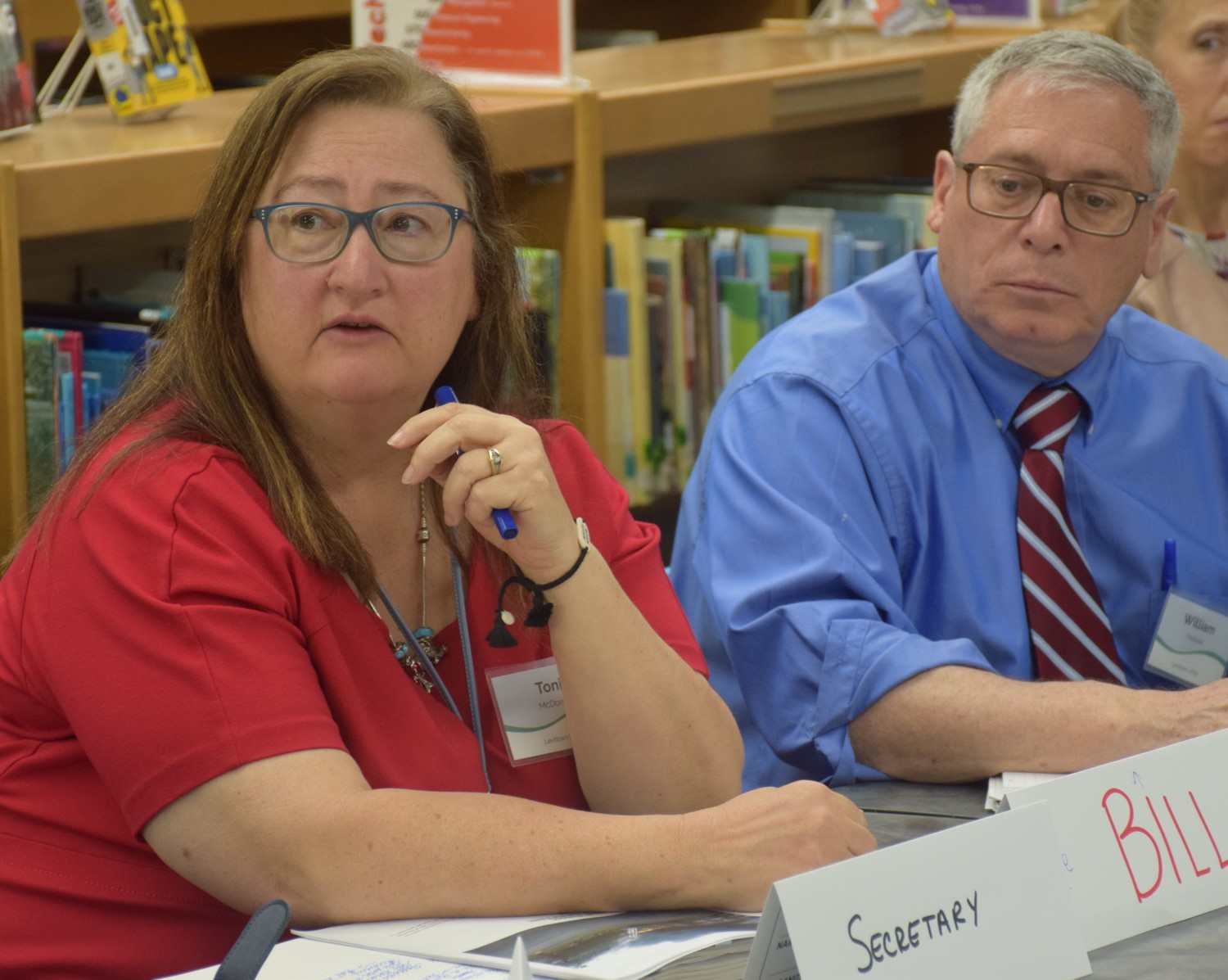 Levittown Superintendent Dr. Tonie McDonald and Assistant Superintendent Bill Pastore participated in discussions about a mock emergency scenario.