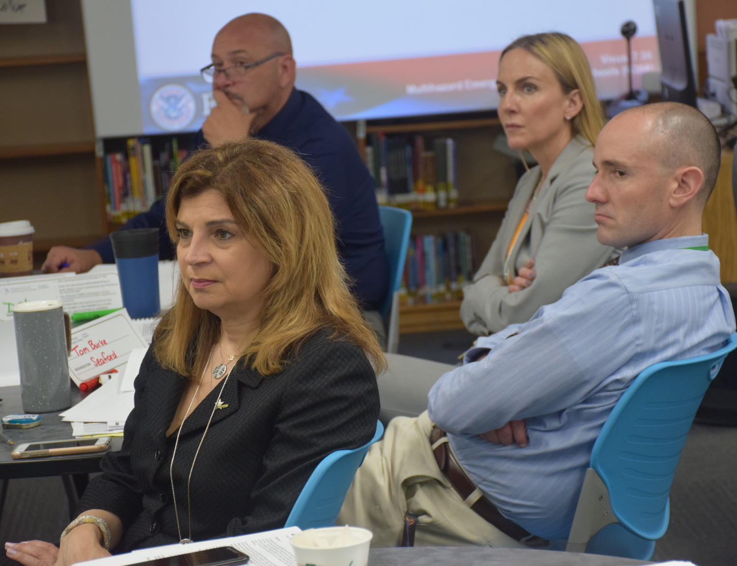 Seaford Superintendent Dr. Adele Pecora, incoming facilities director Russell Costa, middle school guidance counselor Stacey Ranzie and Harbor Elementary Principal Thomas Burke, right, learned about emergency management planning.