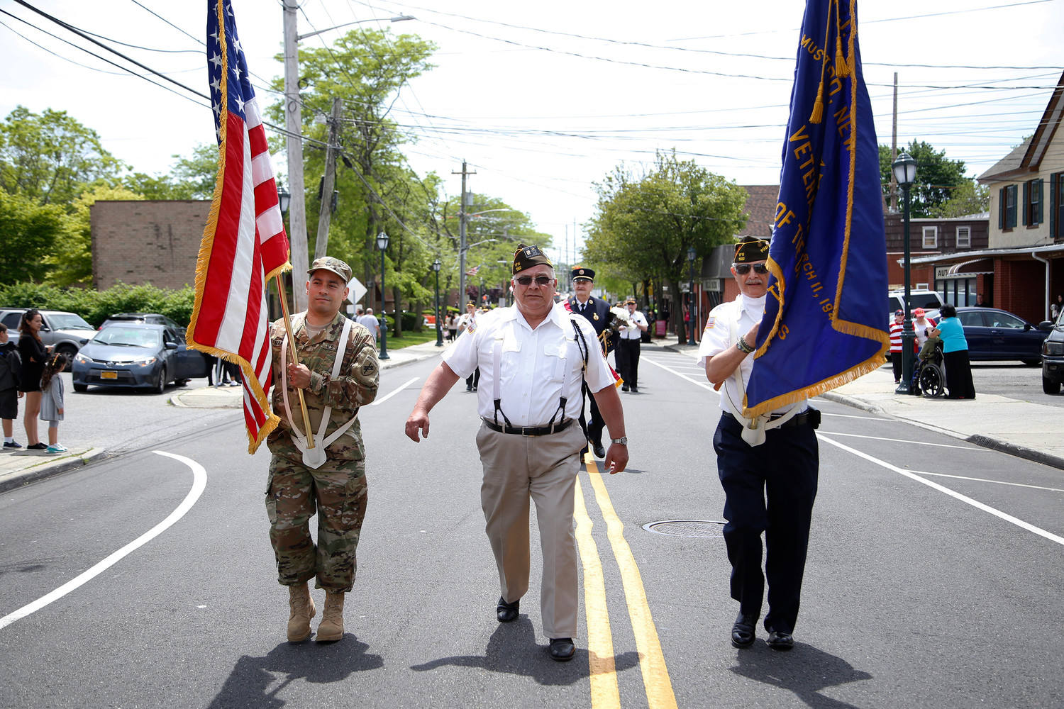 Inwood's Memorial Day Parade in 2017 was lead by, from left, this year's grand marshal, Mike Martinez, VFW Commander Frank Santora and Ron Sorrentino.