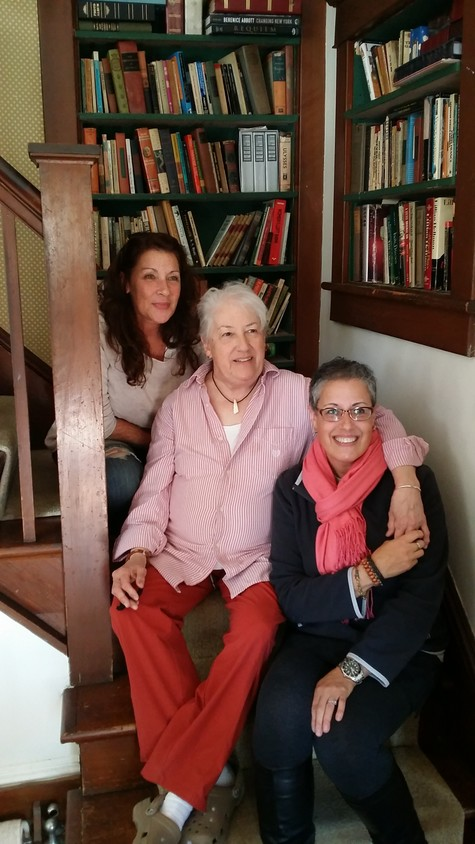 Leah Napolin, center, with her daughters Jessica Starke, left, and Margo Katz at the playwright's home in Sea Cliff.