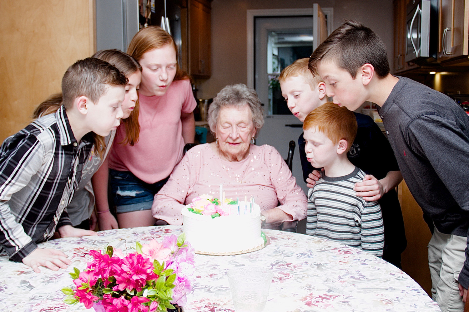 Hazel Reukauf celebrated her 100th birthday a week early surrounded by some of her great grandchildren in her Glen Cove home.