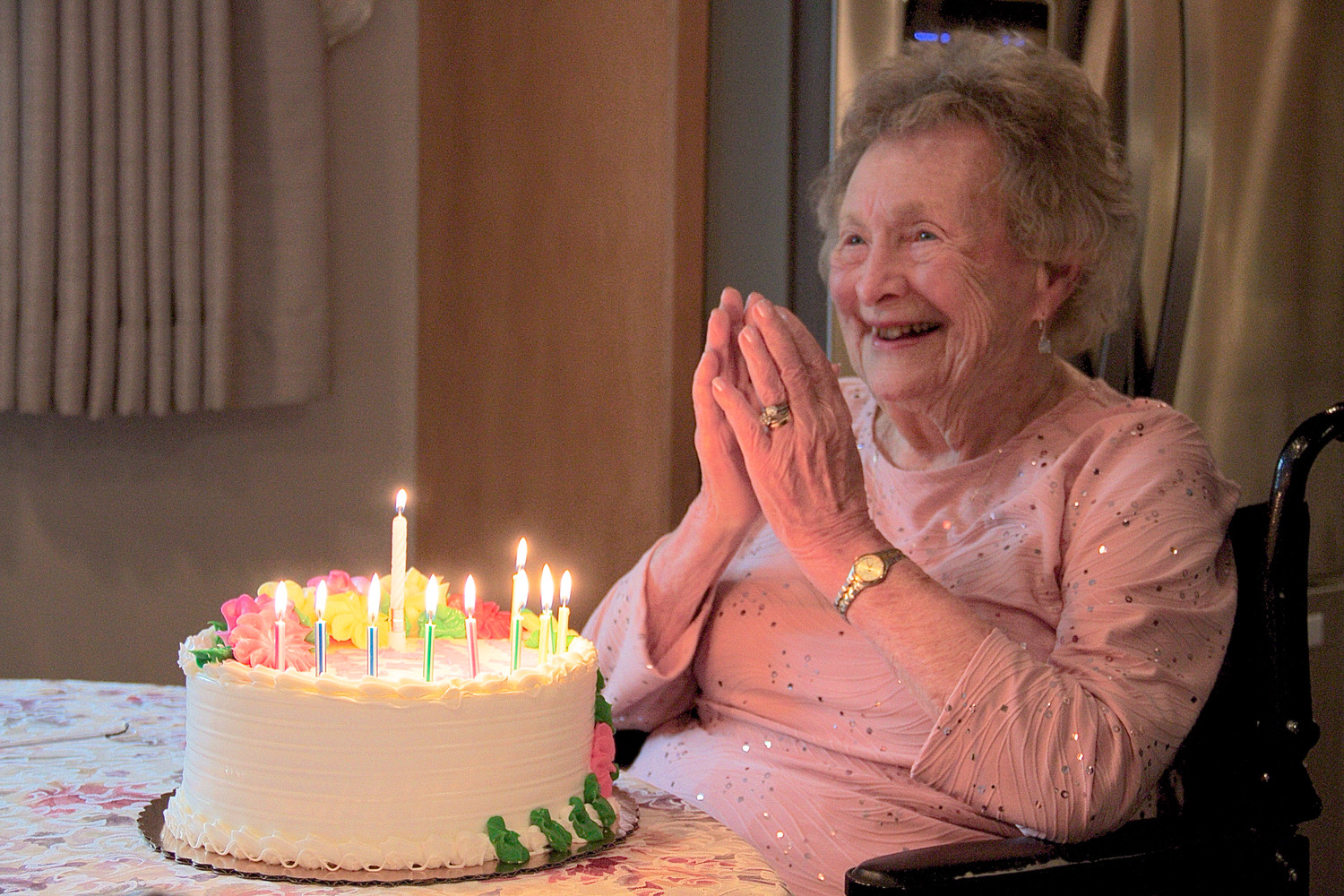 Hazel Reukauf was delighted to spend her 100th birthday with her family.