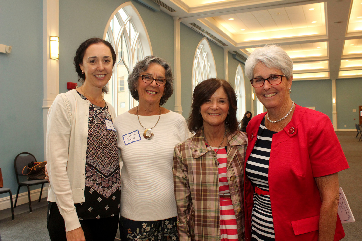Anne Wynne, left, her mother, Deborah, a teacher at St. Agnes Cathedral School for 17 years, 35-year teacher Pat Mayerhofer and former co-principal Helen Newman enjoyed the gathering.
