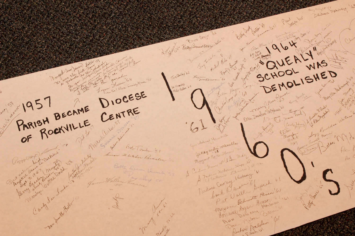 A banner with signatures of past students commemorated the timeline of St Agnes Cathedral School's history.