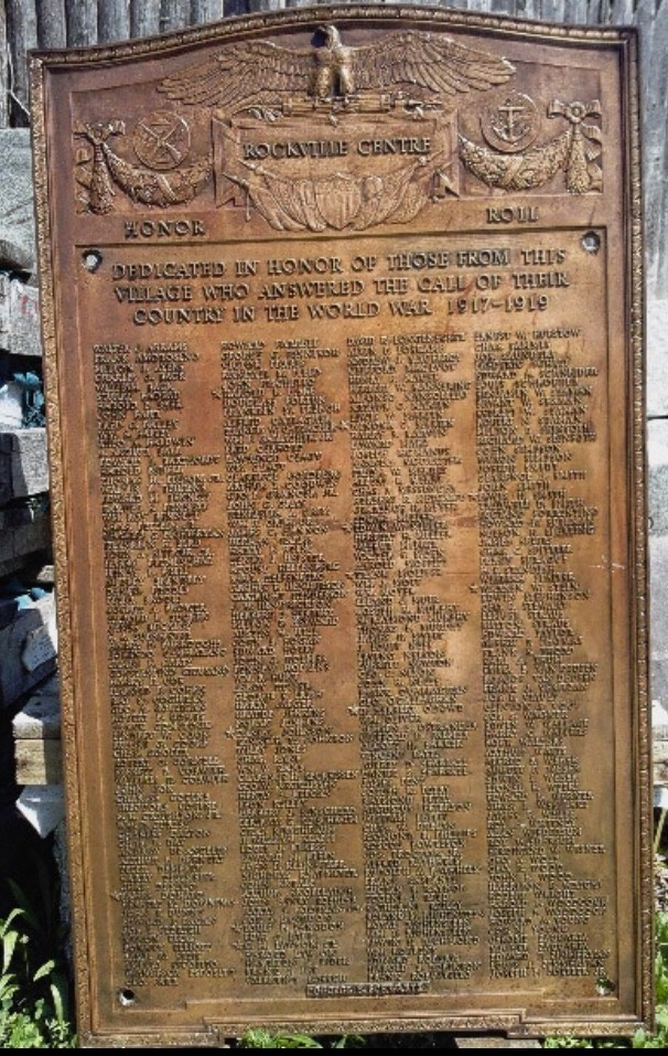 The plate found last year in Village Hall's basement includes new names of Rockville Centre residents that served in World War I.
