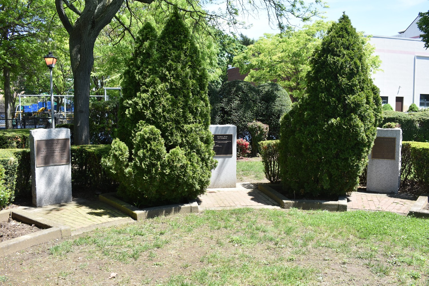 A small gathering will take place on Memorial Day by the war monuments at the John A. Anderson Recreation Center in Rockville Centre.