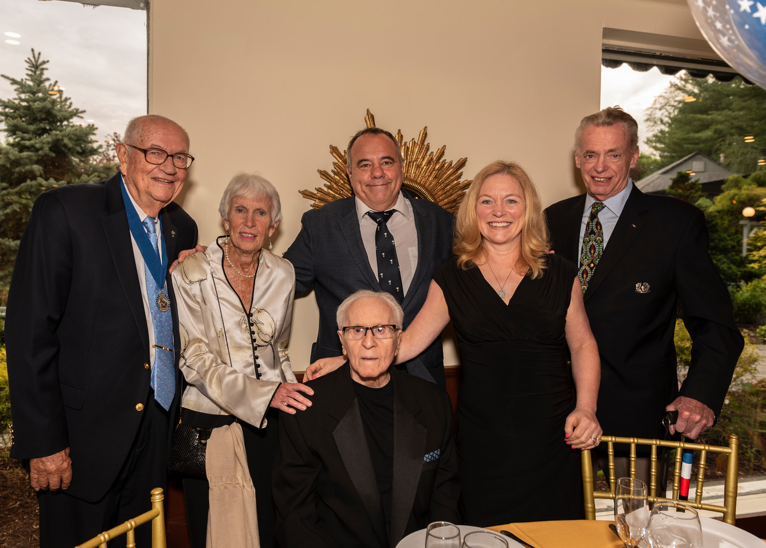 Ernie Franck, a chartering member, far left, with Ellen Franck, John Kle, Leslie Kle, Scott Whitting and Arthur Hubbs at the Kiwanis Jubilee.