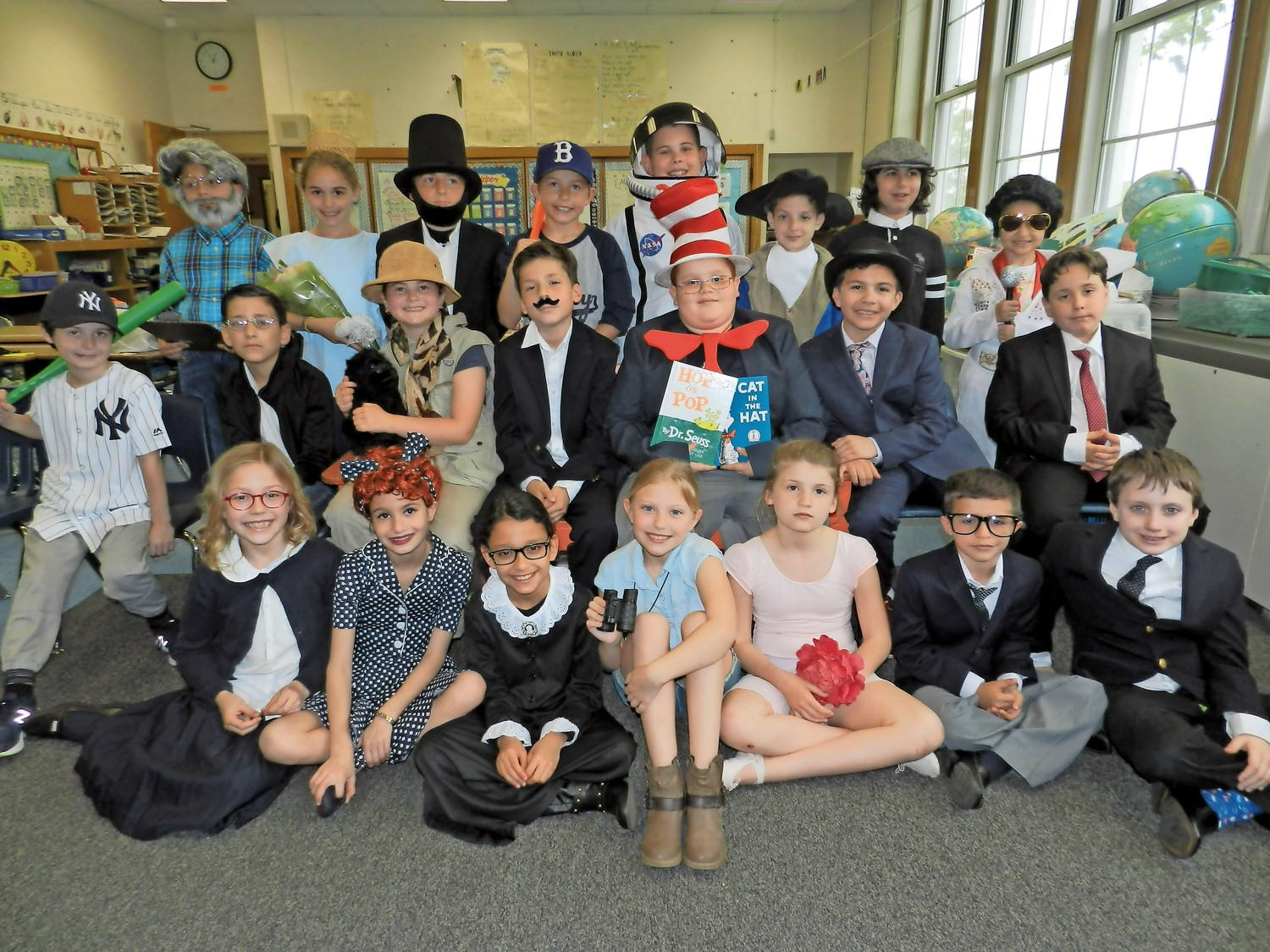 Jovanna LeMonda's third grade students dressed up as impactful individuals from history for Glen Head Elementary School's annual wax museum study.