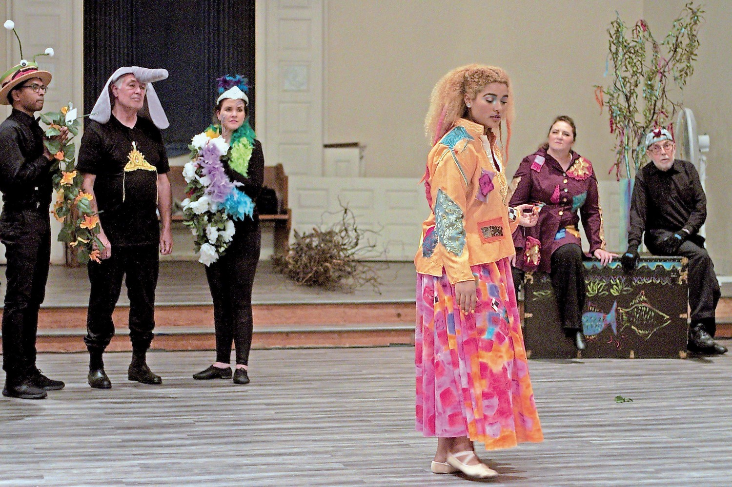 David Gemmy, far left, Mark Tarantino, Livia Hill, Lien Barboza, Deborah Rupy, and John Holly sang and danced rehearsals away in preparation for opening night.