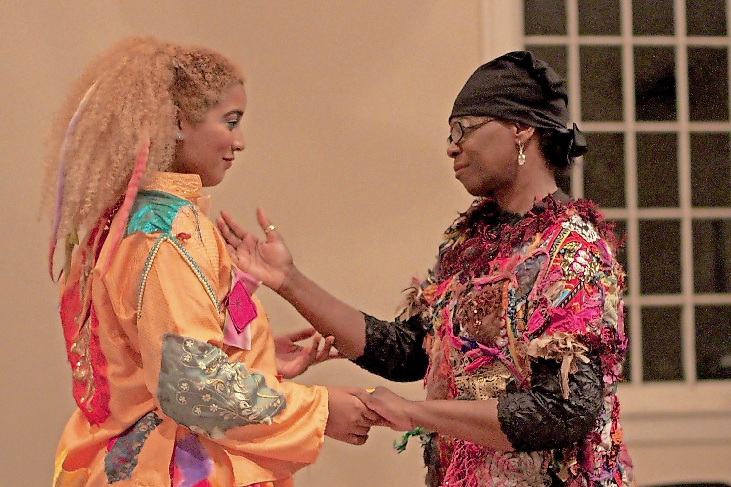 Lien Barboza, left, who plays Gingerella, rehearsed a powerful scene with Alicia Evans, who portrays her mother.