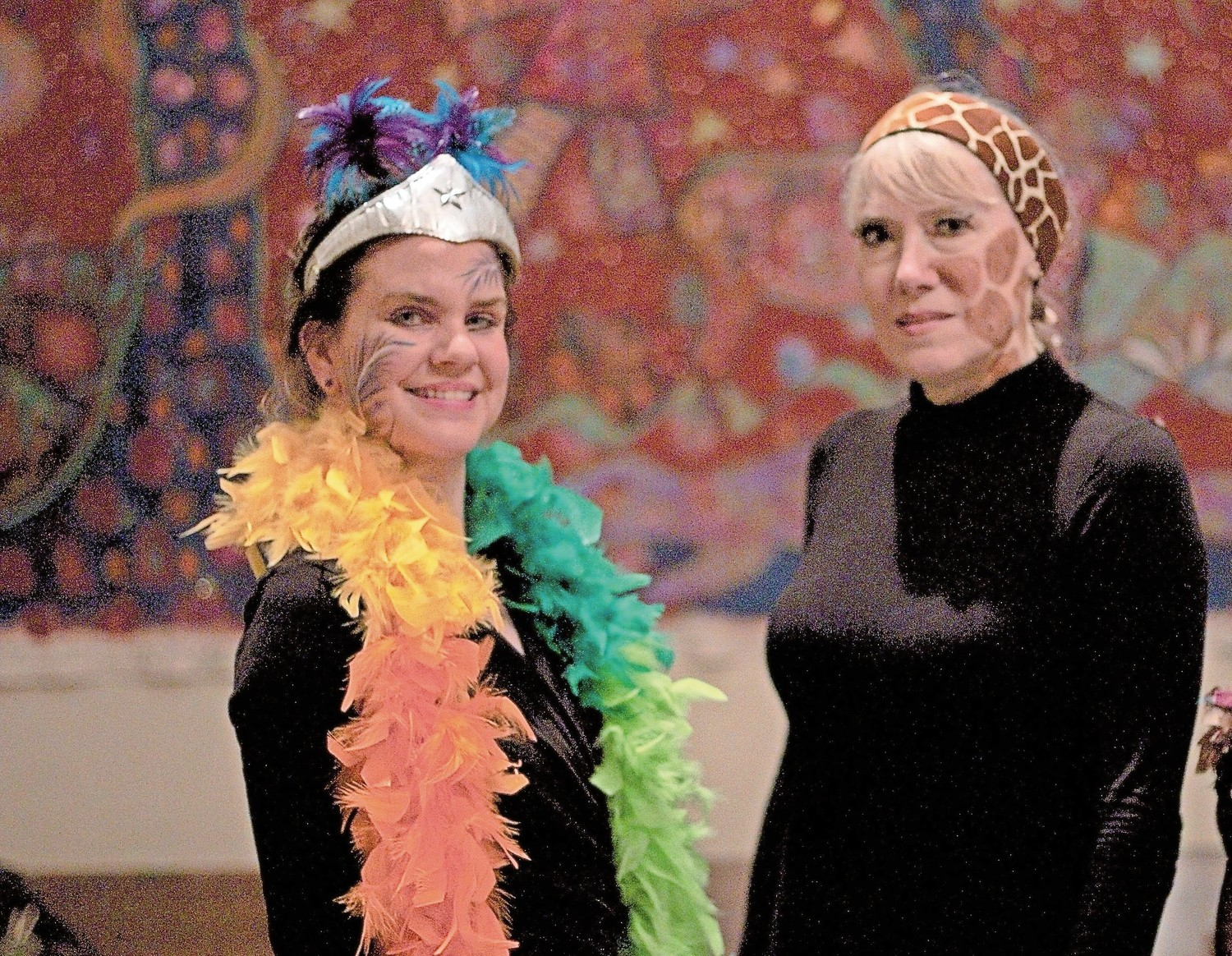 The characters of Plume Bird and Giraffe are portrayed by Livia Hill, left, and Karin Weibert.