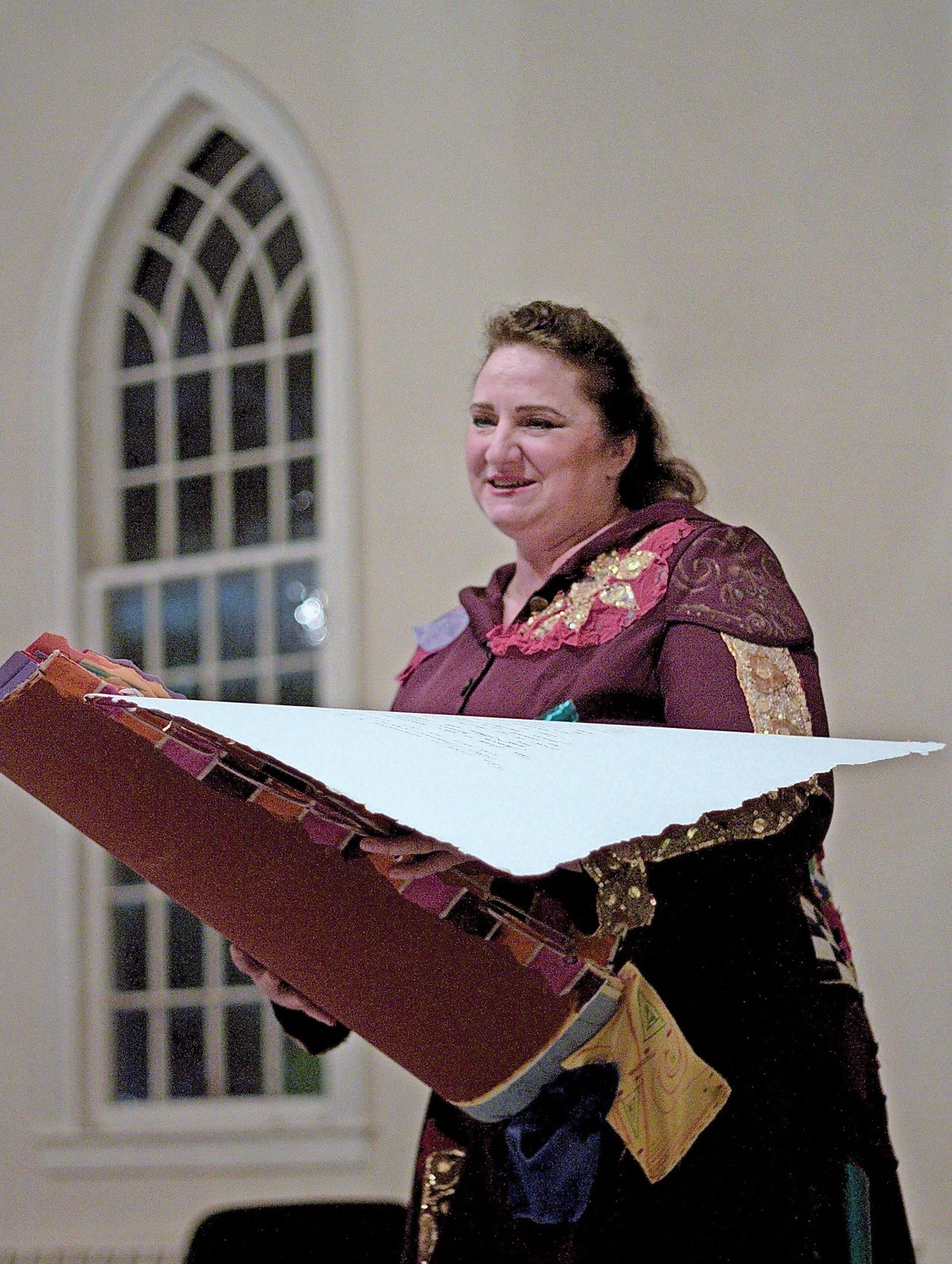 "Deborah Rupy, of Hicksville, played the storyteller in ""Gingerella."""