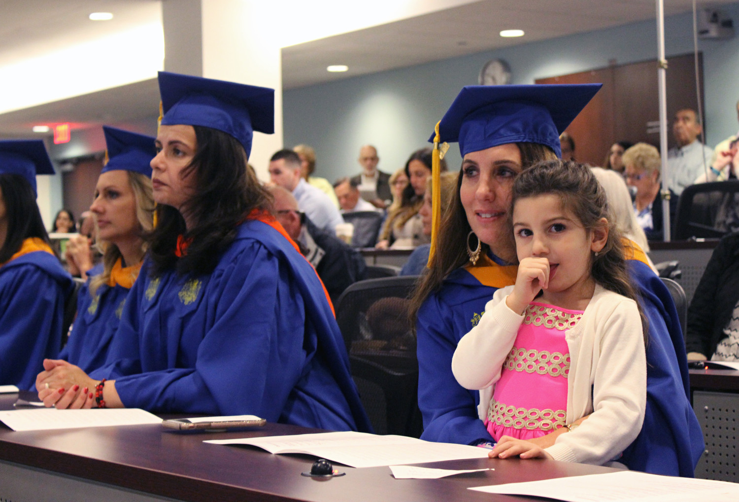 Maria Zouloufis, of Massapequa, is one of 28 students who have completed the inaugural graduate nursing program at Hofstra University and Northwell Health. Zouloufis is also raising three children, including her daughter, 5-year-old Eva Maria, pictured above. Zouloufis's two sons are George, 9, Anthony, 7.