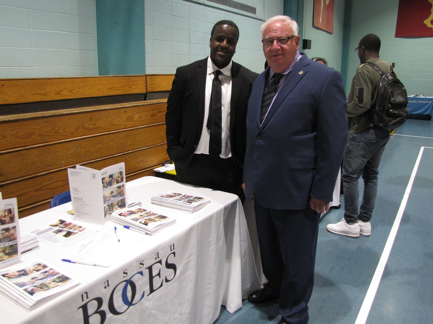 Assistant principal at BOCES, Jamel Johnson, right,  and  Senator John Brooks were all smiles during the job fair.