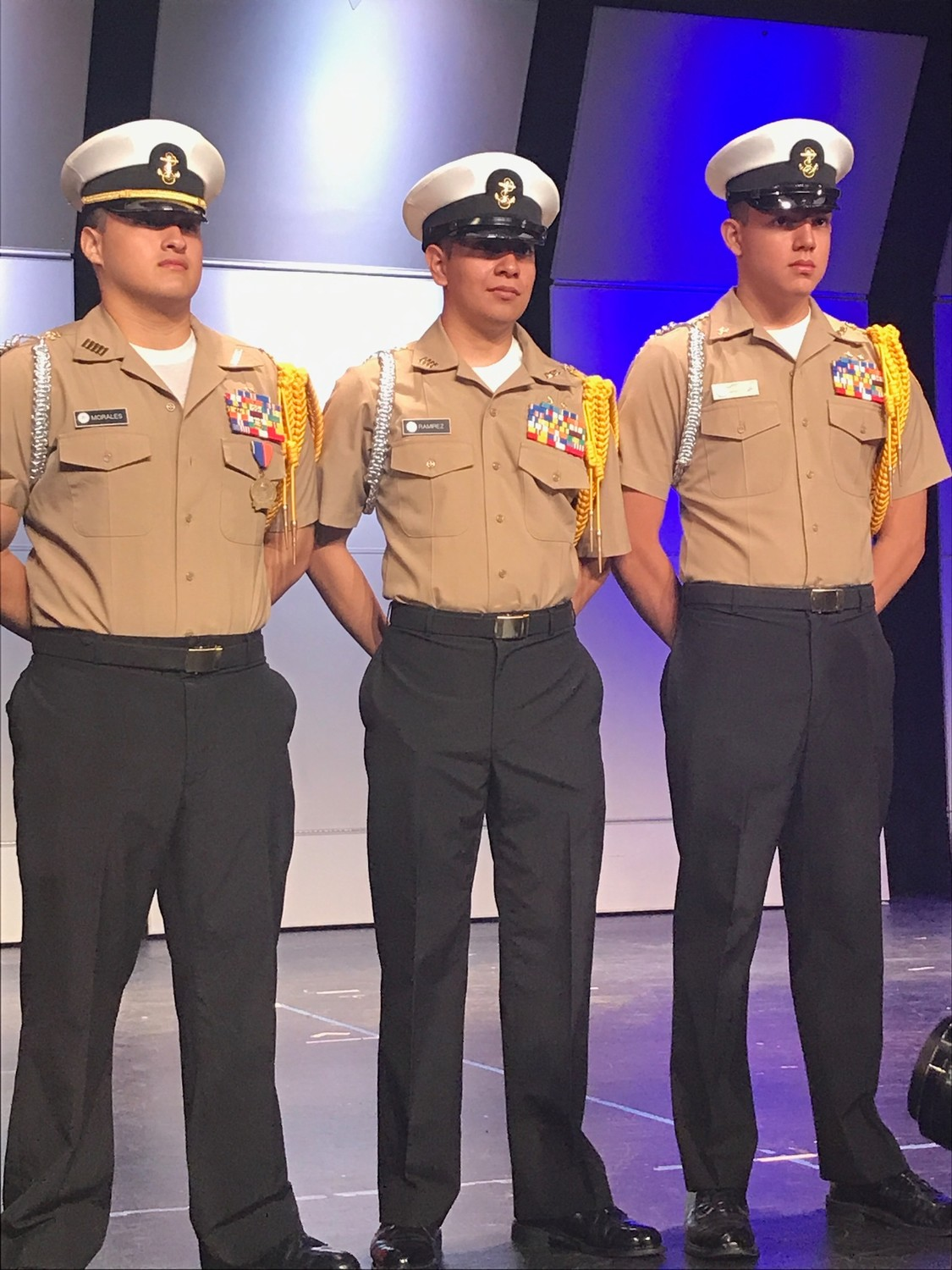 During the 2017 Memorial Day ceremony in the Freeport High School auditorium, Franco Ramirez, center, stood alongside Navy Junior ROTC commrades, Jonhansen Morales, left and Erick Rivera, right. Ramirez is the executive officer and the second in command for the entire unit at the school.