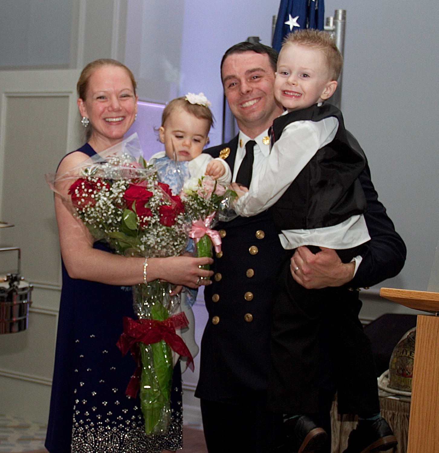 Chief Kevin Barry and his wife Erin, and children Liam, 4, and Cassidy, 1.
