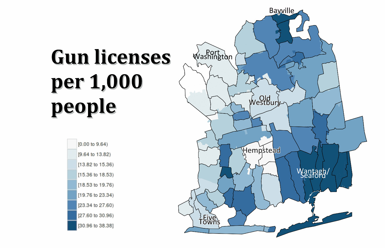 This map shows which parts of Nassau County have more pistol license holders than others. Scroll down for an interactive version of this map and chart showing  demographics where pistol license holders live.
