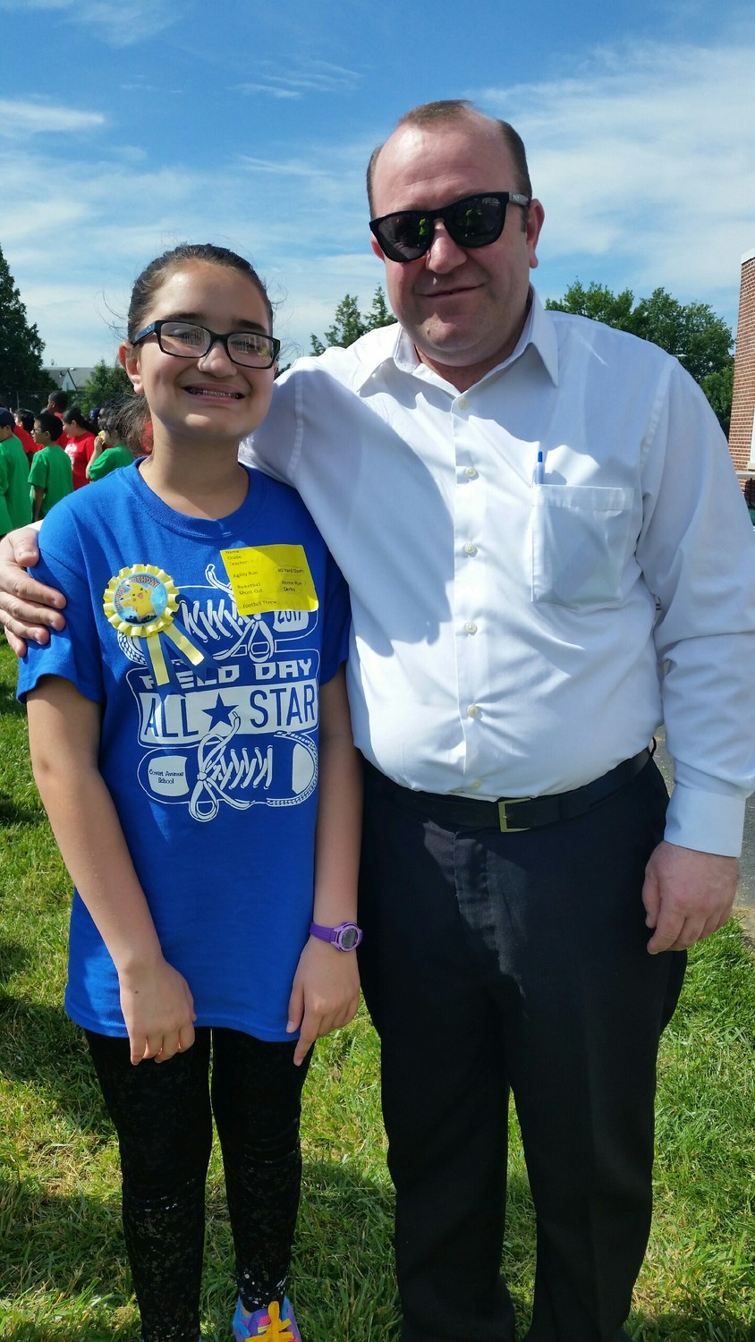 Sokol Vokshi celebrated Franklin Square School District's Field Day with his daughter, Britney.