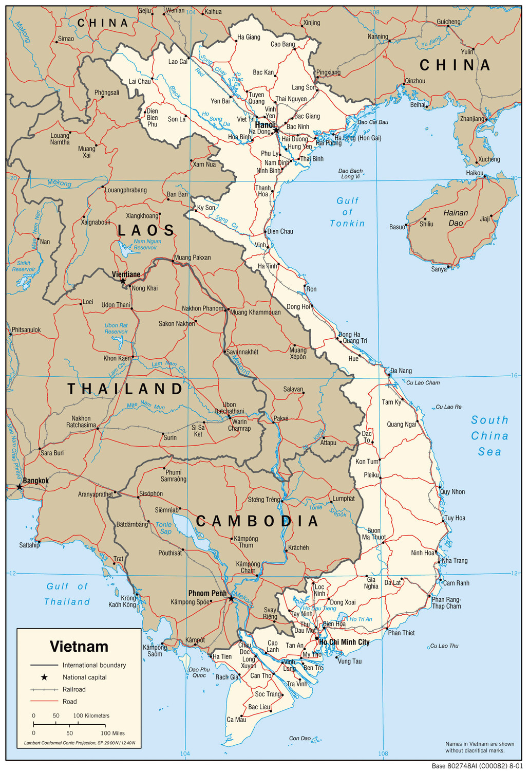 Map of North and South Vietnam.