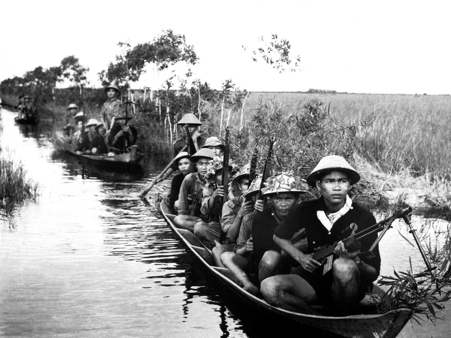 Vietcong soldiers entering Vietnam from Cambodia via the Ho Chi Minh Trail.