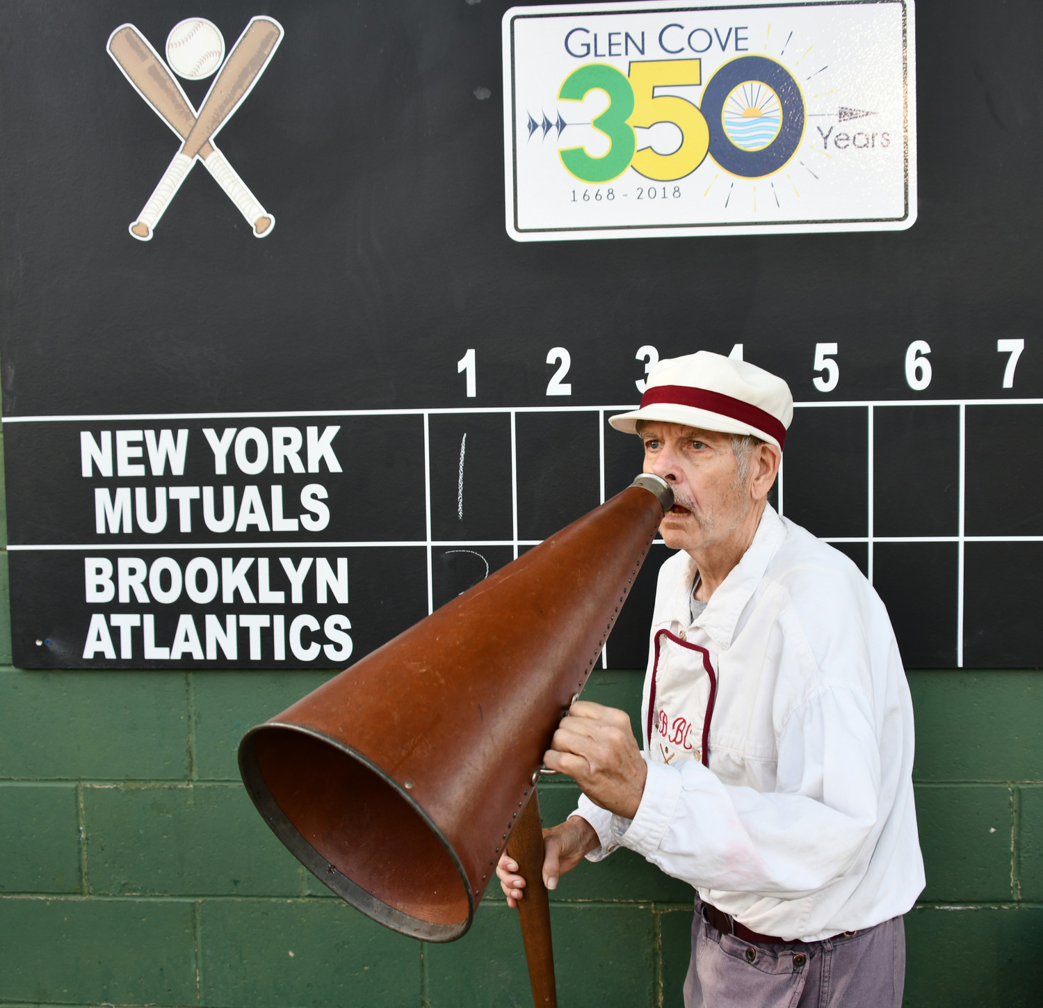"Nicky ""the Lip"" Tangle helped call the plays at the Old Timers Base Ball Game on Friday, May 25."