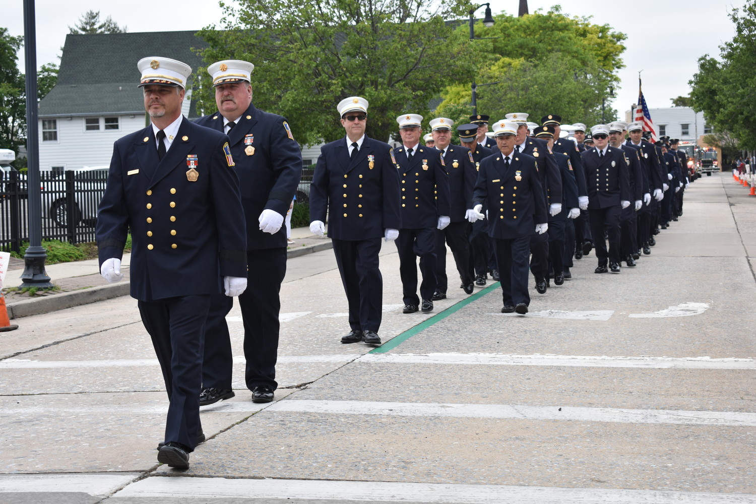 Members of the Rockville Centre Fire Department, led by Chief Brian Cook, marched in the parade.