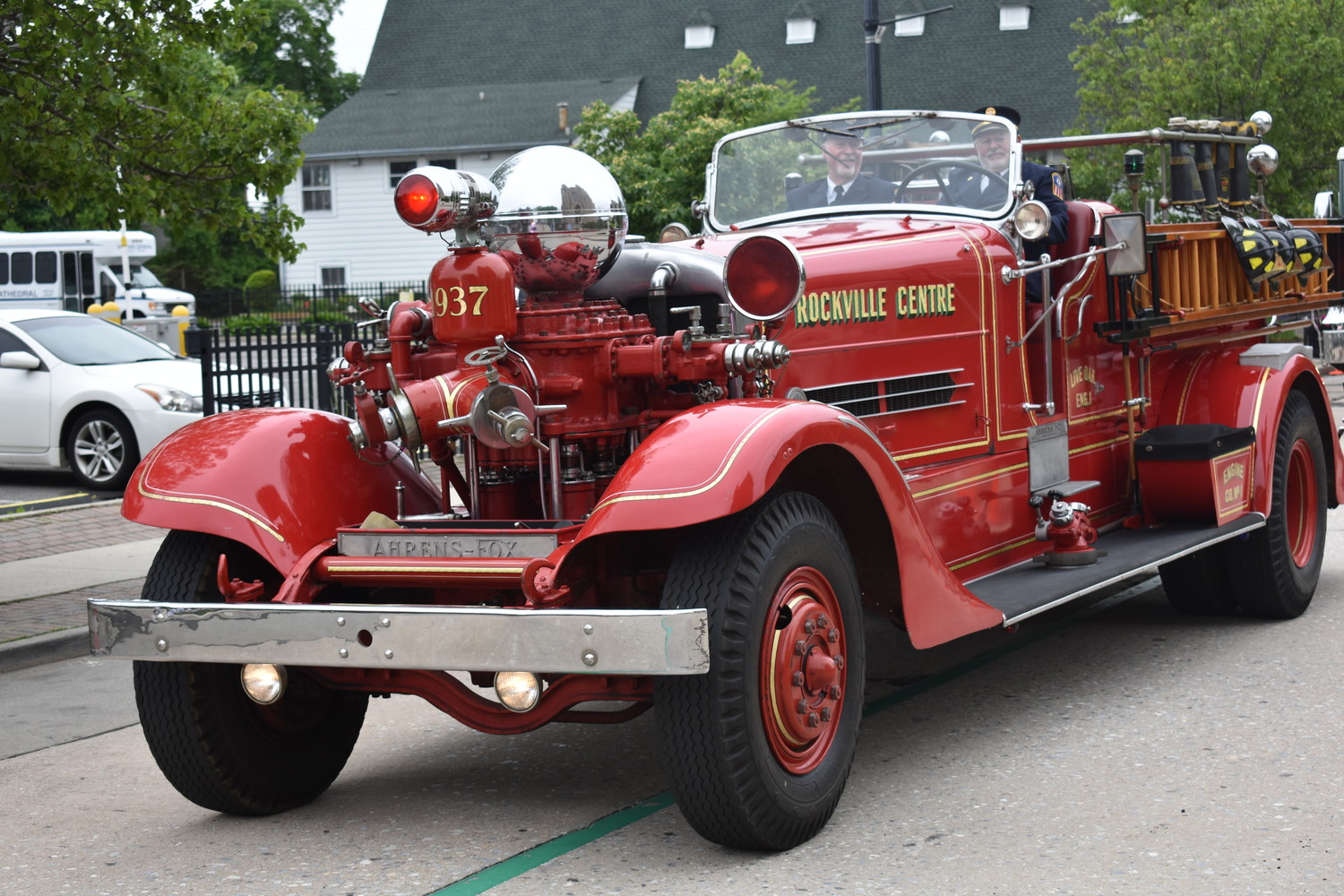 An old firetruck dazzled spectators.