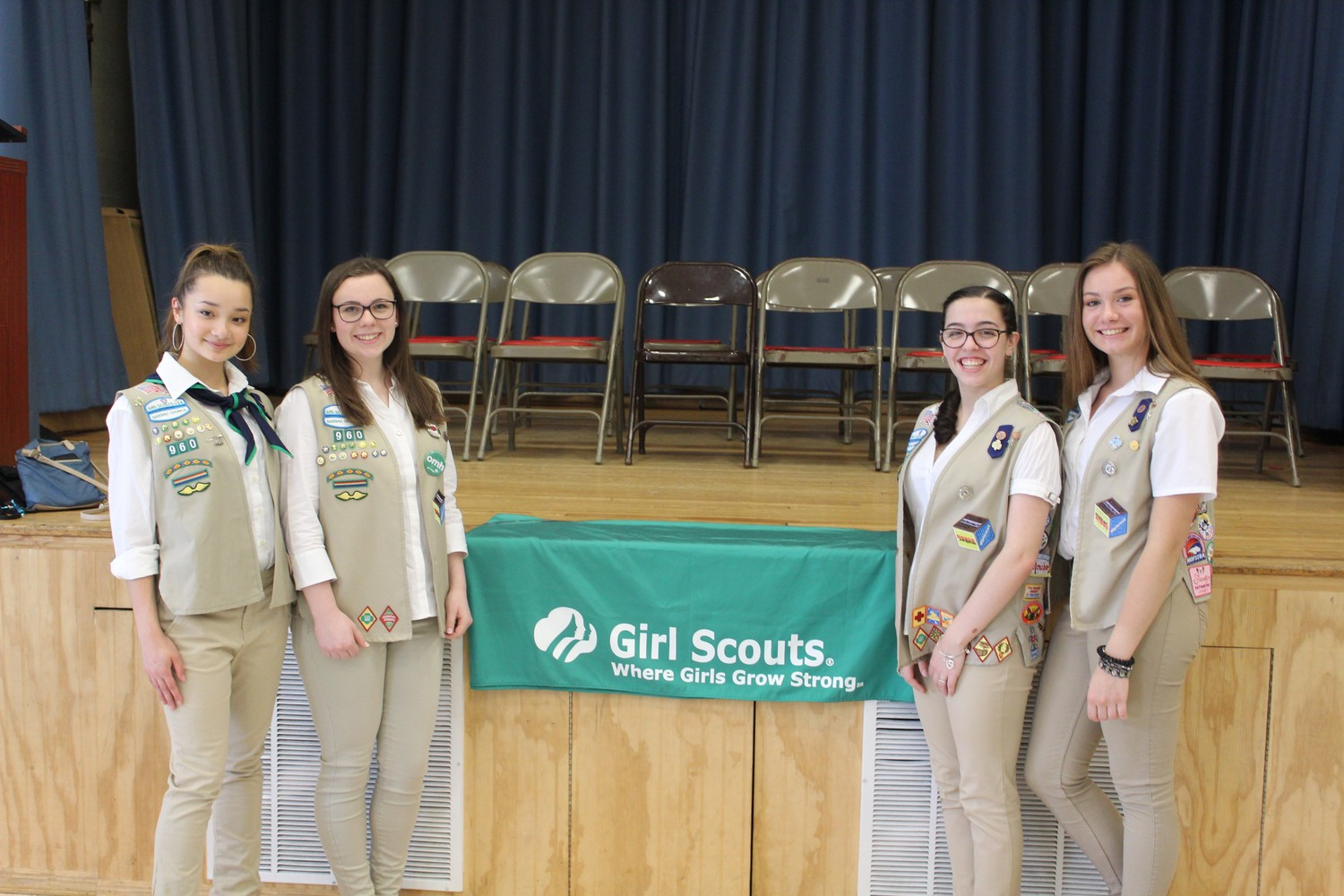 Girl Scouts Angela Sourial, left, Caitlin McDonald, Gina Pepe and Alexandria Casella all earned the Gold Award earlier this month.