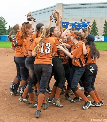 East Rockaway celebrated after defeating Mercy, 10-0, for the Long Island Class C championship on May 31 at Hofstra.