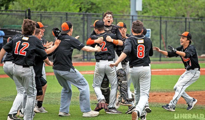 Catcher Matt Perri and winning pitcher Stefano Cilluffo, No. 2, were at the center of East Rockaway's celebration after it's 5-4 come-from-behind win over Pierson.