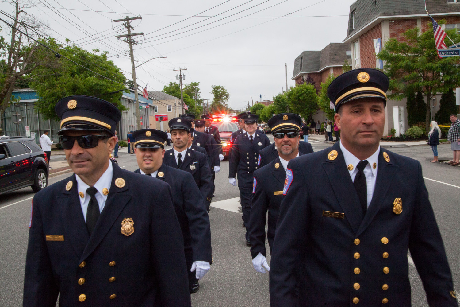 Members of the Oyster Bay Fire Department came out in full force to march in the parade.