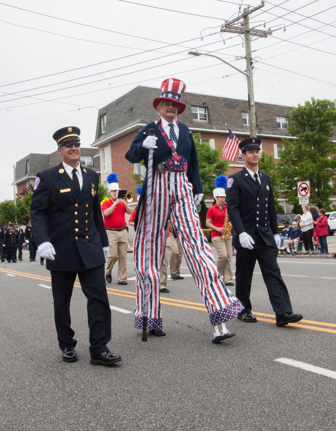 Uncle sam made an appearance, flanked by firemen.