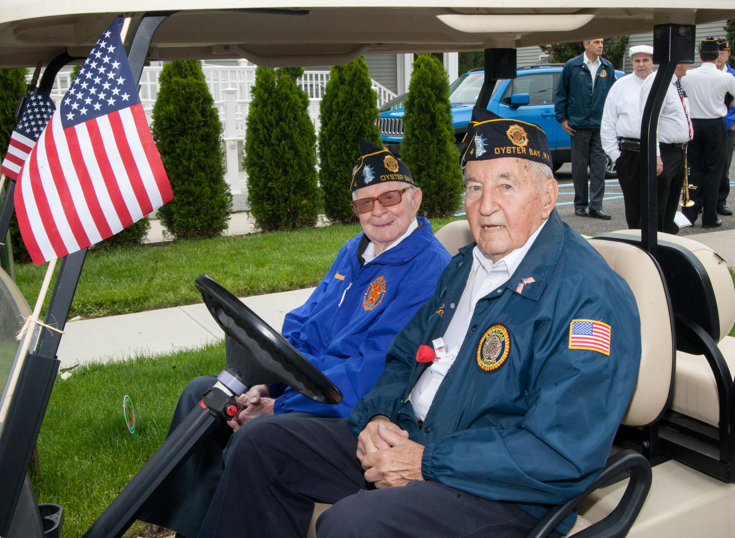 Herman Sonnernorm, left, and Edward Butt from Oyster Bay's VFW, lead the Memorial Day Parade.