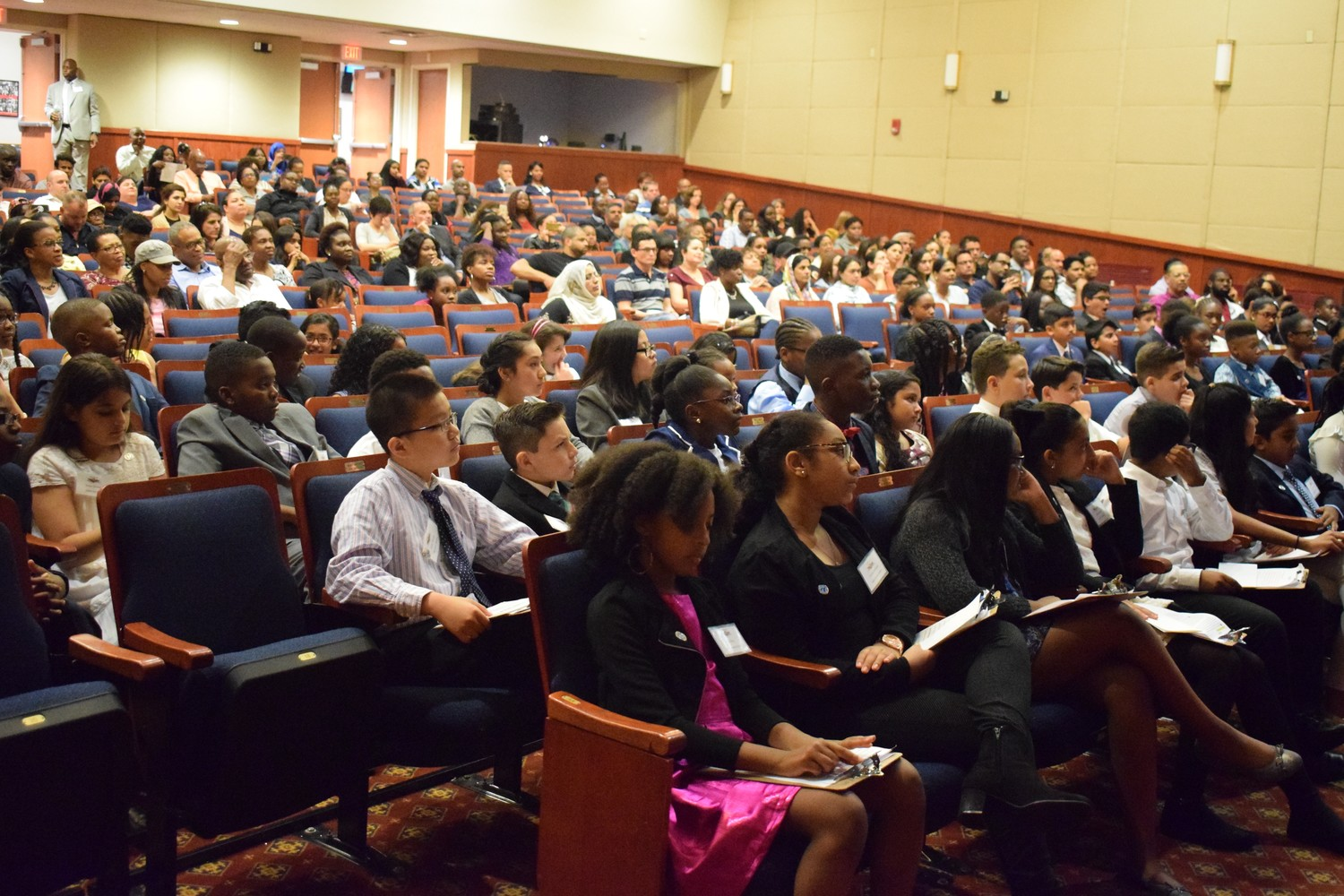 About a hundred students from the Elmont Free Union School District gathered inside the Elmont Memorial Library for the 13th anniversary of the LEE Model U.N. Conference.