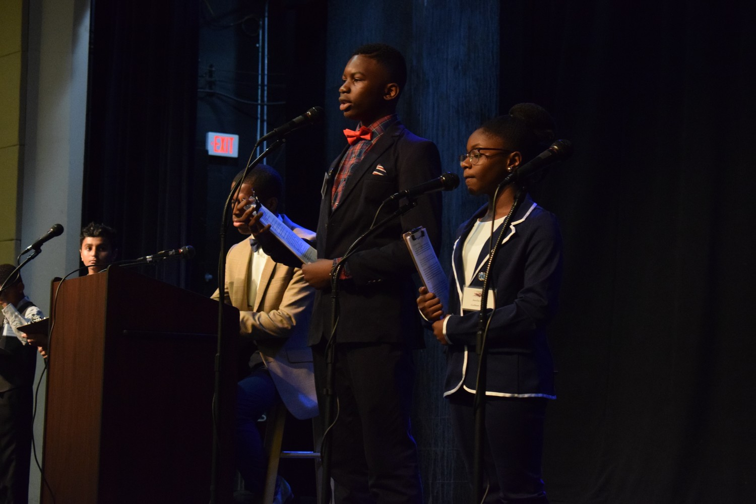 Gotham Avenue School's Osagie Ekhator and Anielia Bryan talked about Somalia's struggle with hunger.