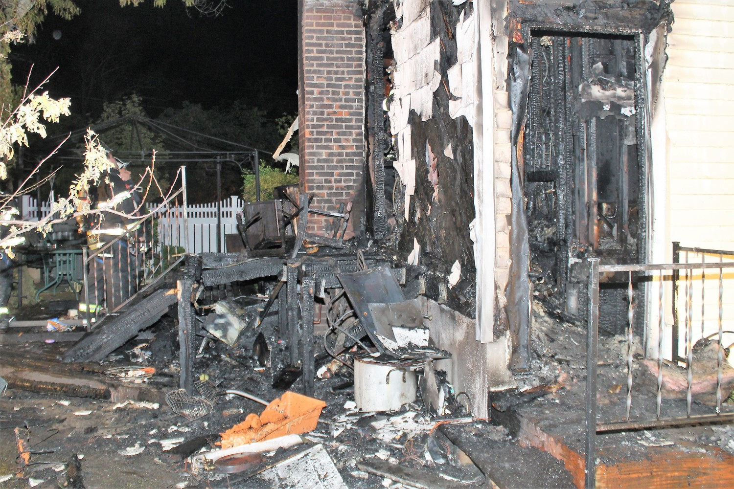 The house was severely damaged in the blaze.