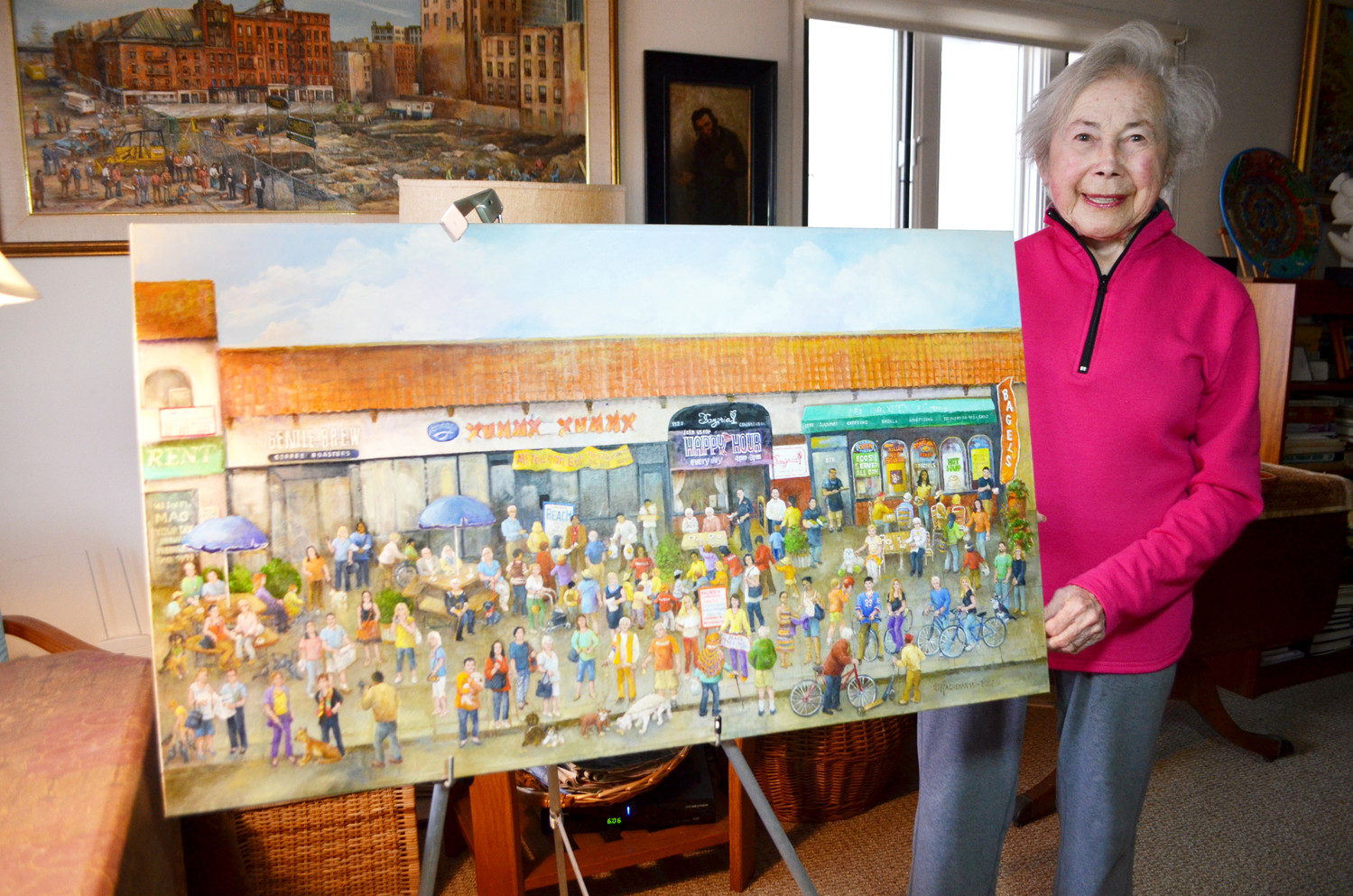 Hedy Pagremanski, a well-known artist who has lived in Long Beach for more than 30 years, recently finished a painting of 53 actual Long Beach residents on Park Avenue. She is known for painting scenes of New York City buildings before they were torn down.
