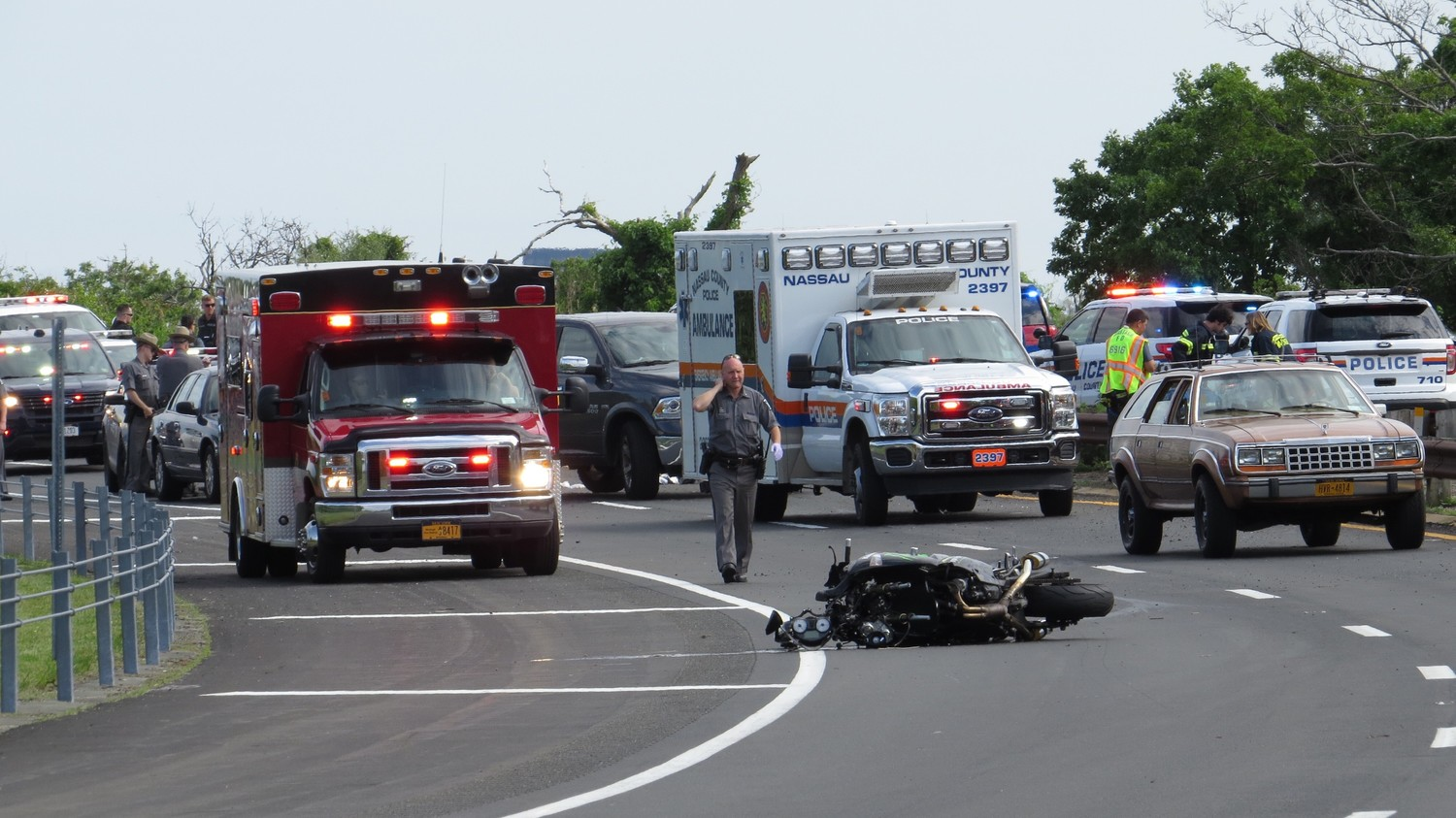 Levittown motorcyclist William Moore, 55, died on June 6 at approximately 4 p.m. when his motorcycle struck a guard rail and ejected him and his female passenger from their seats.