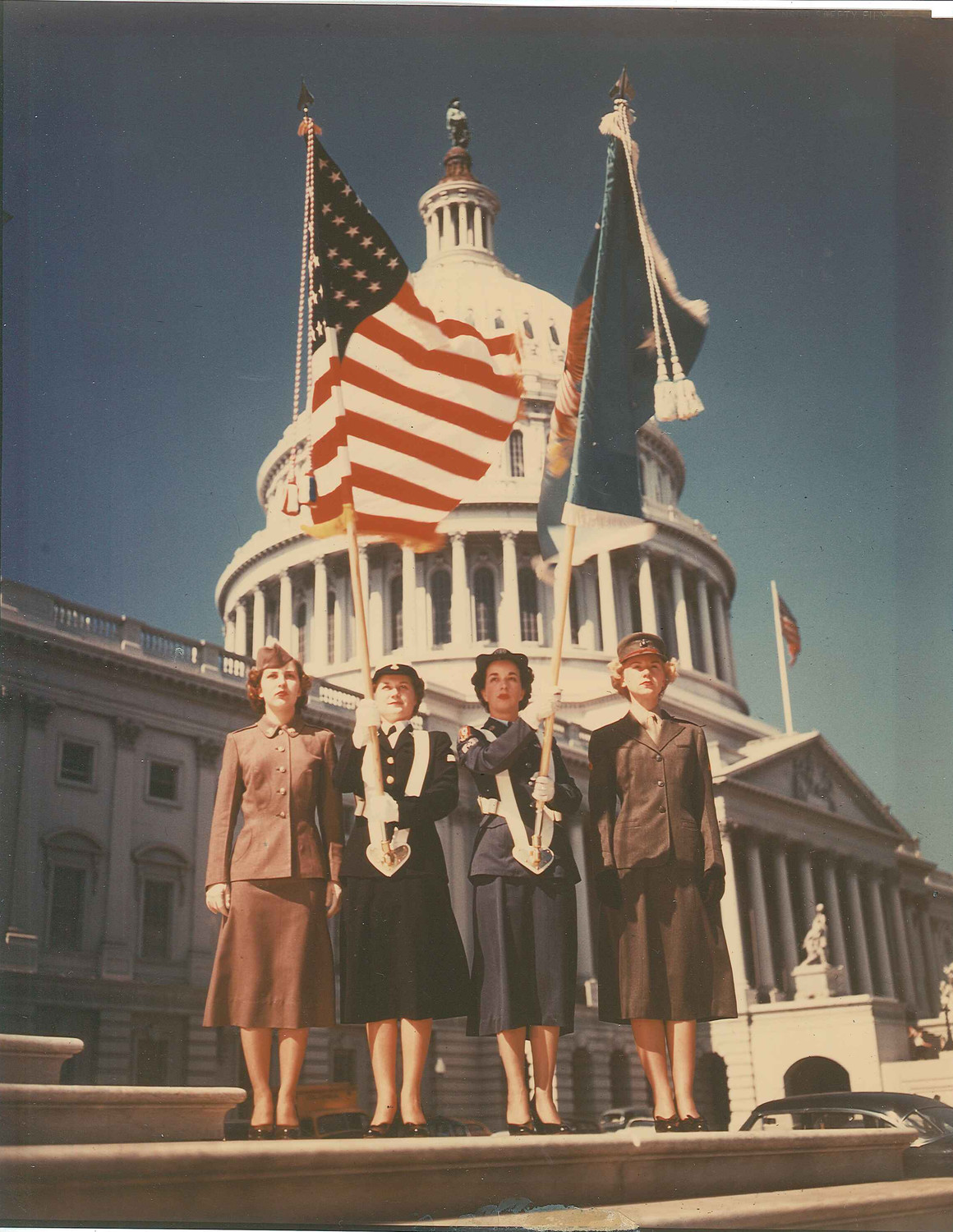 Evelyn Kandel, far right, of Glen Cove, served in the U.S. Marine Corps Women's Reserve during the Korean War, and modeled for the military's public relations materials, like this one.