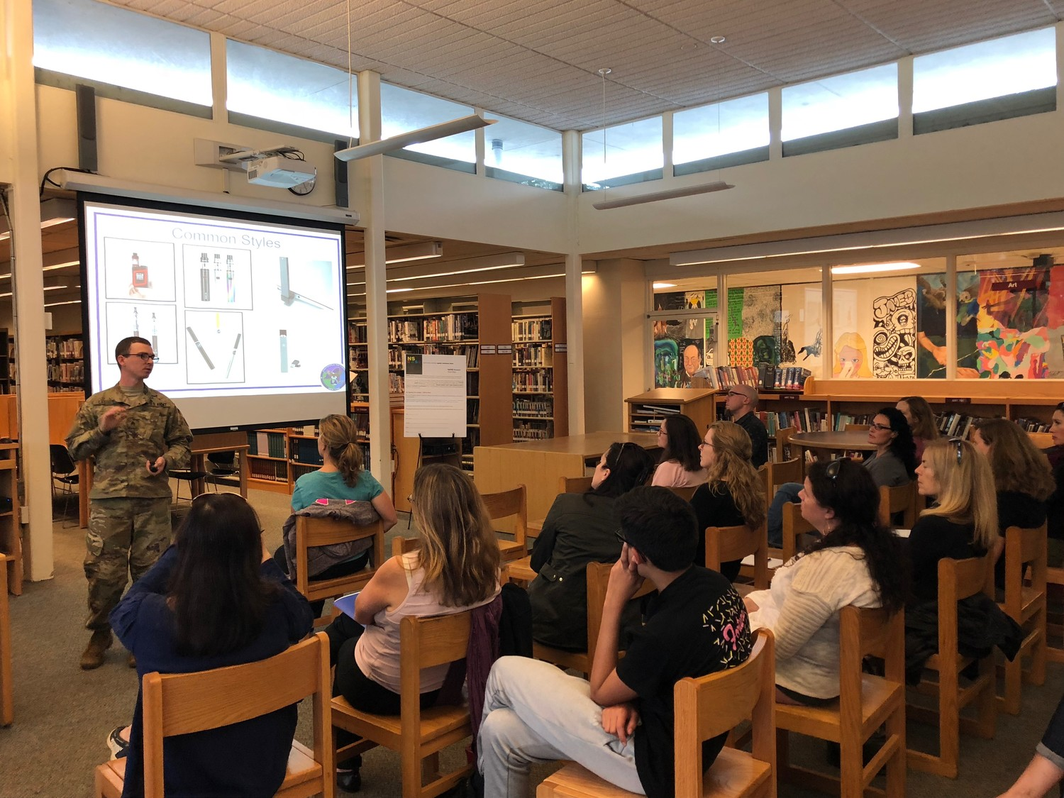 Sgt. Sean Cassidy of the National Guard Counter Drug Task Force shared some facts about vaping with the North Shore School District community.